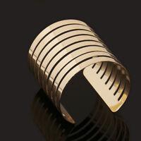 Vintage Women Gold Cuff Punk Bangle Wide Bracelet Wristband Ladies Charm Jewelry