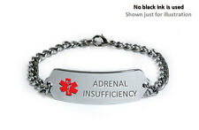 ADRENAL INSUFFICIENCY Medical Alert ID Bracelet. Free medical Emergency Card!