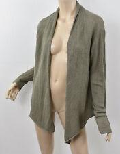 PURE J. JILL Morel Taupe EASY TEXTURED CARDIGAN Linen Blend Open Sweater XL