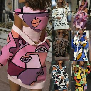 Sexy Women Sweatshirt Hoddies Dress Eyes Lip Printed One Shoulder Blouse Dress
