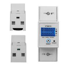 Contador Energía Medidor de electricidad LCD Carril Din KWH 80A 230V