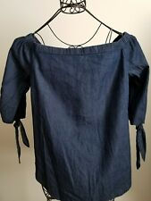 FADED GLORY, XL 14-16, 100% COTTON, BLUE, SHORT SLEEVED WOMEN'S TOP,  NWT