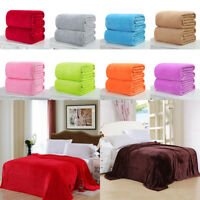 Hot Micro Plush Fleece Blanket  Super Soft Solid Warm Sofa Bedding Throw Rug