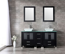 "60"" Black Double Bathroom Vanity Wood Cabinet Ceramic Sink Mirror Faucet Set"