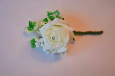 Christmas White Glitter Buttonhole with Ivy, Pearlised Beads, Daisies, Diamante
