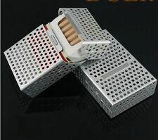 Man 20 pack hollow cigarette case cigarette box creative flip metal SILVER color