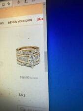 S925, Yellow Goldtone, Preowned But Tagged Jeulia 3 Piece Wedding Set Marked