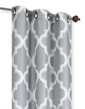 SILVER/WHITE PANEL/VALANCE MOROCCAN PRINT WINDOW LINED LIGHT BLOCKING CURTAIN