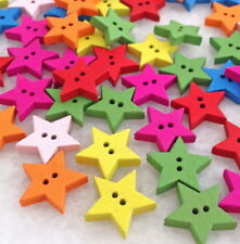 100pcs Wooden Buttons Pentagram Star Mixed Color Sewing Scrapbook DIY NEW Hnk230