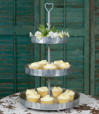 Vintage Silver Galvanized Metal TIERED DISPLAY STAND Cupcake Dessert Tray