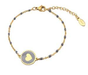 "Women Gold Plated Titanium Stainless Steel Bohemia Bead Heart Hand Bracelet 6-8"""