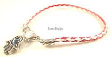 Hamsa Red White Leather Bracelet Evil Eye Kabbalah Silver Hand Of Fatima Charm