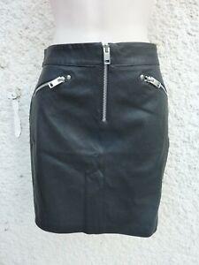 Jupe DIESEL cuir noir NEUVE R-Yusra rock– Taille US :27 (36/38) Val : 440€
