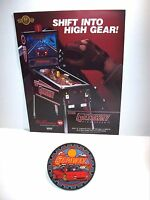 WILLIAMS THE GETAWAY ORIGINAL PINBALL MACHINE NOS SALES FLYER + PROMO PLASTIC