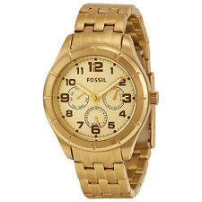 New Fossil Multi-Function Steel Gold Day Date Women Dress Watch 39mm BQ1409 $135