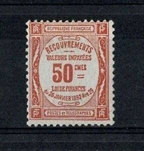"""FRANCE STAMP TIMBRE TAXE YVERT 47 """" 50c ROUGE """" NEUF xx LUXE VALEUR:1000€ V779"""