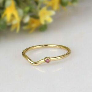Girls Dainty Pink Topaz Wave Ring 925 Silver Gold Plated Stack Ring Jewelry