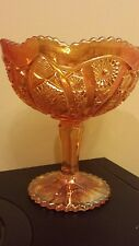 Imperial Marigold Octagon Pattern Carnival Glass Compote