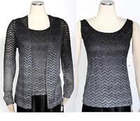 Onyx Nite Black Metallic Blouse With Jacket Size M 2 PC Cocktail Women's New*