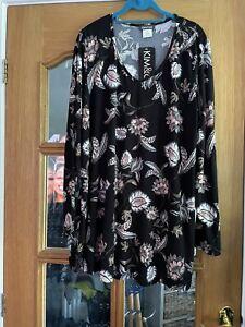 Kim & Co Brushed Venechia V Neck Tunic Black Multi New