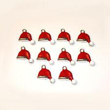 10pcs Enamel Christmas Hat Charms