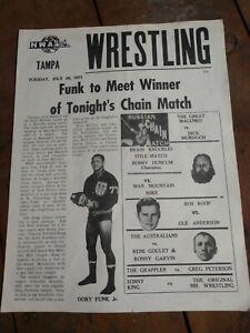 Vintage TAMPA, FLORIDA NWA Wrestling Program July 20, 1971