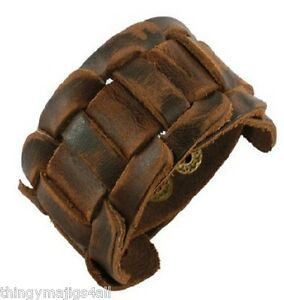 REAL BROWN LEATHER WEAVE WRISTBAND WRIST STRAP BRACELET CUFF STEAMPUNK  MEN A56