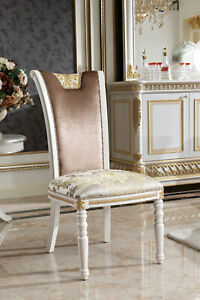 Dining Chair 1 Seat Armchair Wood Baroque Rococo Furniture Design E62 Luxus Cool