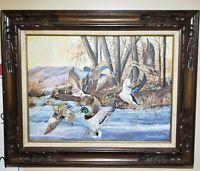 "Marco Vaccher ""Fail Flight"" Scenic Ducks Painting Handmade Wood Framed Signed 89"