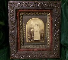Antique Wood And Mohair/velvet? Ornate Frame Multi Tiered w/ Communion Photo