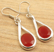 Pair This Jewelry With Your Favorite Dress, 925 Silver Plated CARNELIAN Earrings