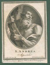 S.ANDREA Apostolo. Acquaforte fine 1700, impressa a Roma da A.Franzetti