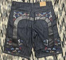 Evisu Genes Mens Denim Shorts Size 40 Embroidered Seagull