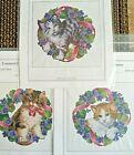 Ellen Maurer-Stroh FLOWERCAT SET of 3 Cross Stitch Patterns Cat w/ Wreath EMS
