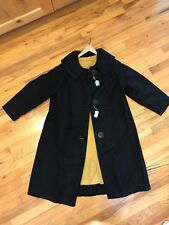 Vintage 40's 50's Women's Long Black Wool Coat with Yellow Lining
