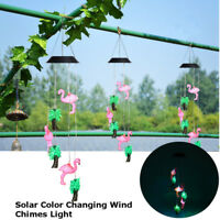 Solar Color Change Flamingo LED Wind Chimes Light Xmas Home Outdoor Garden Decor