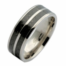 8mm Titanium Black Carbon Fiber Inlay Wedding Band Ring