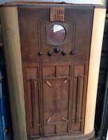 RARE RCA Victor C8-15 Tombstone Floor Tube Radio WORKING Wooden Antique 1930's