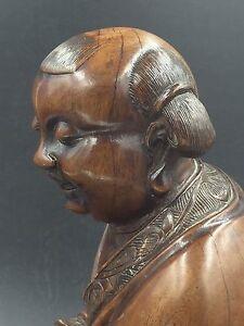 Chinese Wood Statue Of Taoist Boy Immortal Holding A Box 清代道教塑像