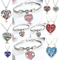 Mother And Daughter Love Heart Pendant Chain Necklace Bracelet Mom Mum Presents