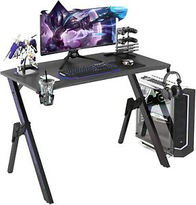43.3 Gaming Computer Desk, Blue Gamer Table Cable Management Box Purple