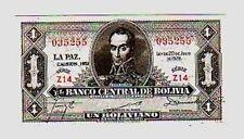 Bolivia 1 boliviano 1952 FDS  UNC       pick  128C serie Z   Lotto 756
