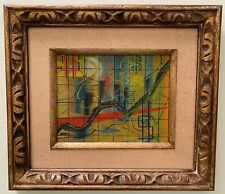 Mid-Century Wall Street Stock Market Chart Abstract Oil Painting Signed & Framed