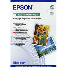 NUOVO! Epson Archival C13S041344 carta fotografica A3 296.93 mm x 420.12 mm 192 G/M GRA