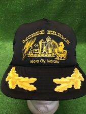 Vintage Morse Farms Beaver City Nebraska Black SnapBack Trucker Farm Gold Leaf
