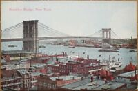 Brooklyn Bridge, New York, NY 1910 Postcard - Birdseye View