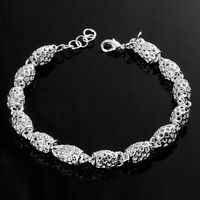 "HOT 925 Sterling Silver Plated Women Fashion Charm ""Casks"" Chain Bracelet Bangle"