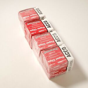 Lot of 8 Boxes of ACCO Smooth Paper Clips Steel Wire Jumbo Silver 100/Box