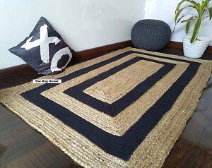 Rug 100% natural jute handmade reversible modern living area carpet runner rug