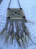 Long Boho Tribal Necklace Silver Tone Pendant Tassel Black Diamond Bead Vintage